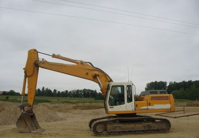 Hydraulic excavator dual-lines for detection of high voltage electric lines